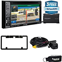 Alpine INE-W960HDMI Audio/Navigation System, Sirius XM tuner, Backup Camera with license plate mounting kit bundle