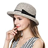 SiggiHat Women Summer Straw Sun Hat UPF Ladies Beach Accessories Fashions Hats Fedora Short Brim Packable Coffee