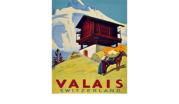 Valais Alps Mountains Switzerland Travel Tourism Vintage Poster Repro FREE SH