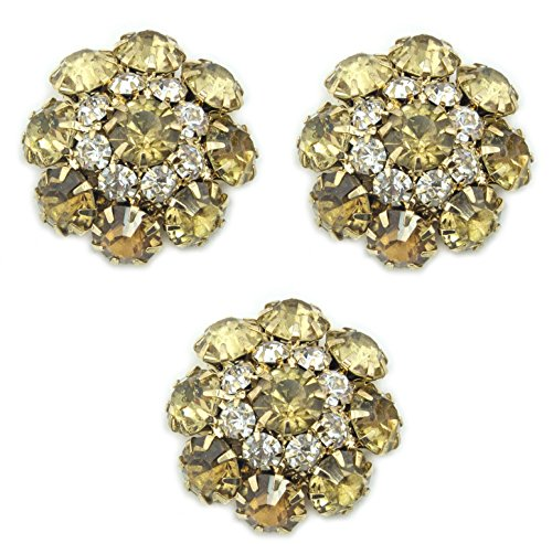 (HAND Set of 3 Pretty Large Amber Yellow Crystal Buttons in a Metal Setting - 22 mm Diameter)