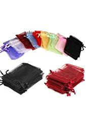 Click Down 108pcs Drawstring Organza Jewelry Pouch Bags 7*9cm