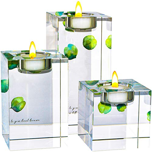 Amazing Home Large Crystal Candle Holders Set of 3, 2.7/4.3/5.9 inches, Prepackaged Elegant Heavy Solid Square Tealight Holders Set Centerpieces for Wedding, Home Decor and Anniversary -