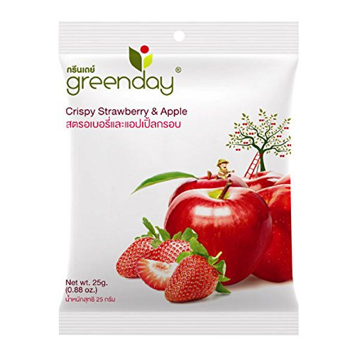 Greenday, Crispy Strawberry & Apple, net weight 25 g (Pack of 4 pieces) / Beststore by KK8 (Baked Apple Cobbler Recipe)