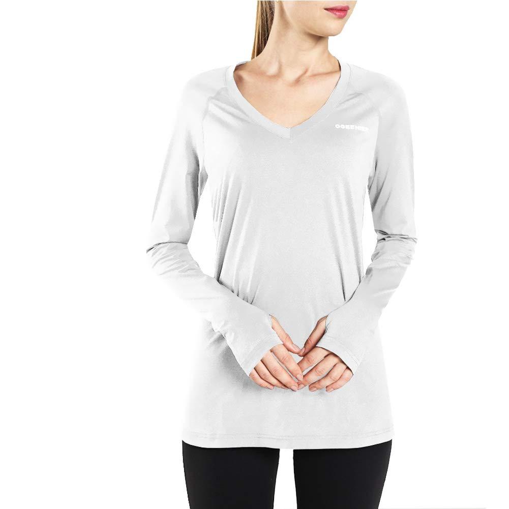 TALLA XL. Ogeenier Mujer Camiseta Deportiva de Manga Larga Sin Etiqueta Camisetas de Secado Rápido para Running Fitness Ejercicio