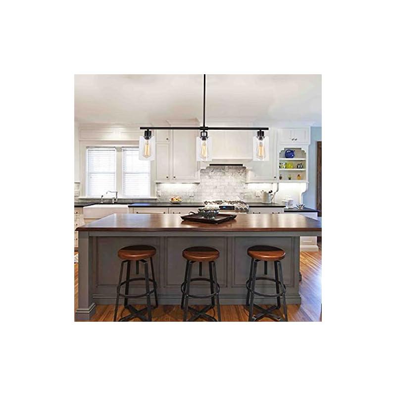 WTYUIO Black Kitchen Island Light, 3 Lights Modern Pendant Lighting Farmhouse Chandeliers Industrial Vintage Ceiling…