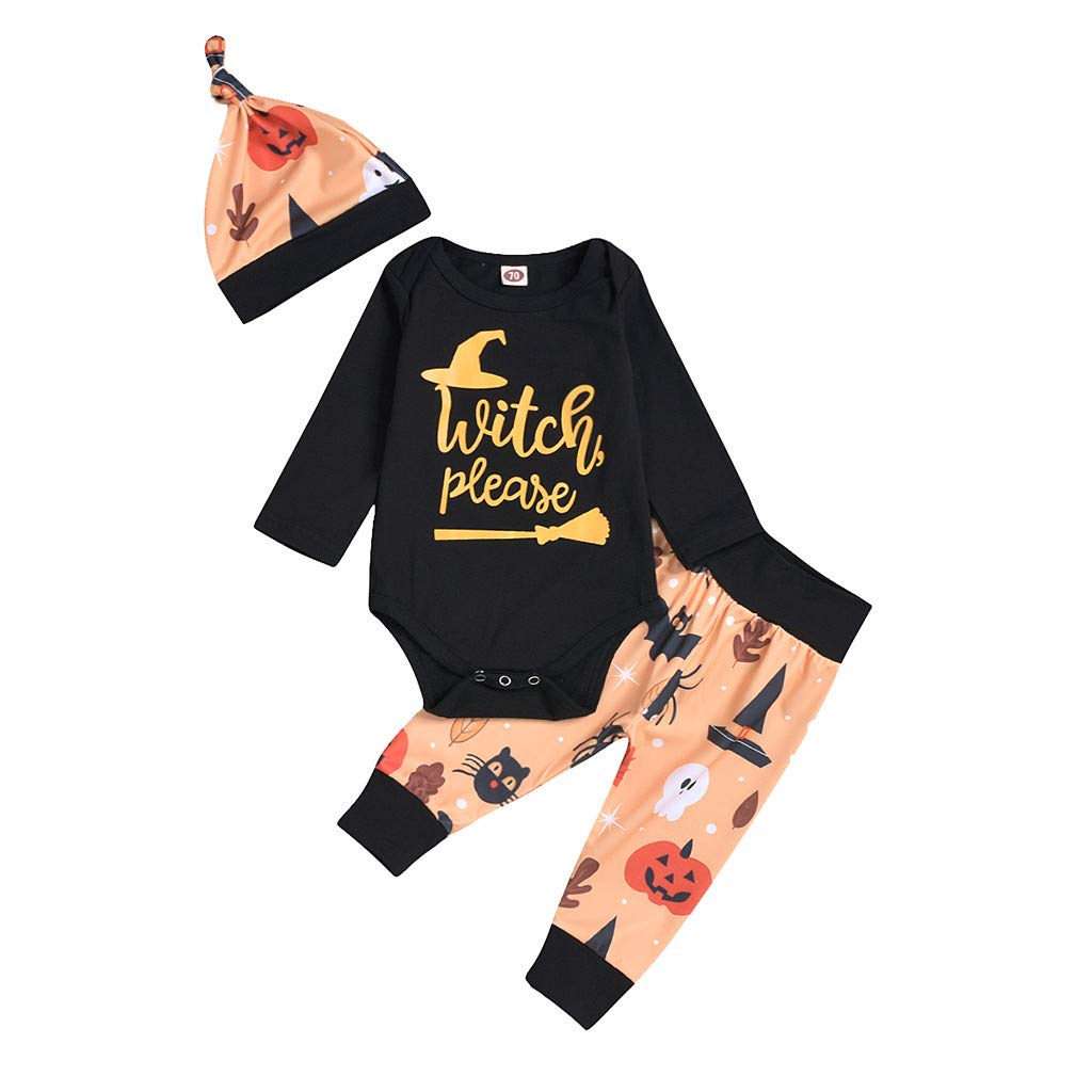 Vicbovo Clearance Newborn Baby Girls Halloween Costumes 3Pcs Outfits Set Pumpkin Rompers Bodysuit+Pants+Hat Outfit Clothes