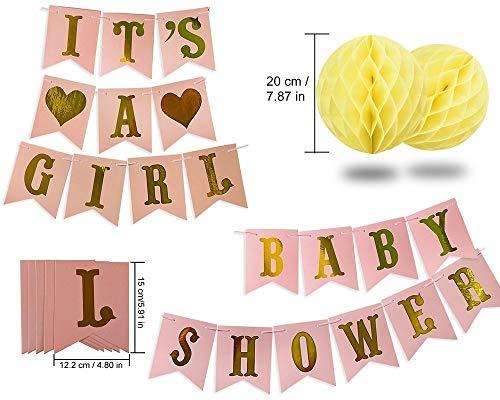 Rosa y oro Baby Shower Decoraciones para niña BABY SHOWER es una niña Garland Bunting Banner Papel de seda Pom Poms Flores Linternas de papel Paper ...