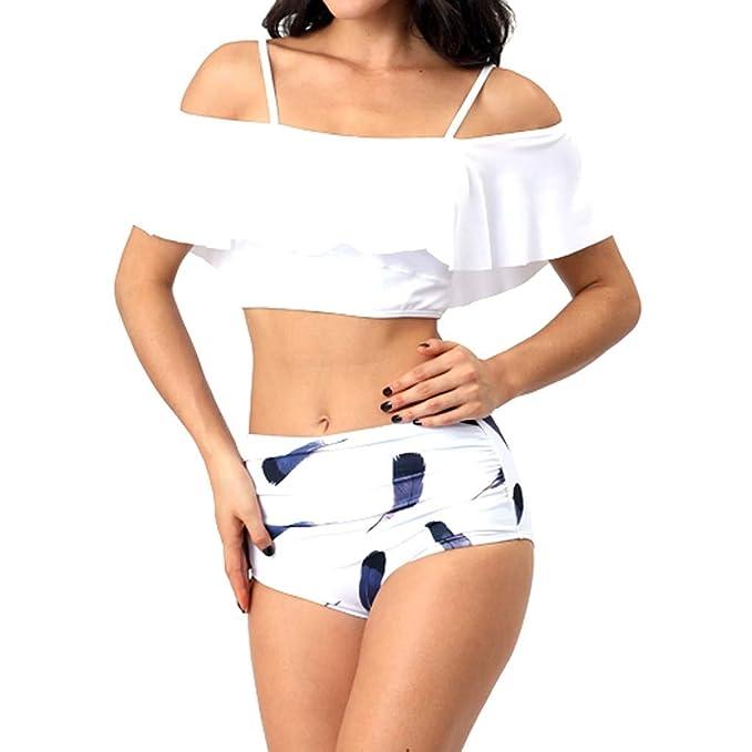 229430bf0c8d Anmain Costume da Bagno Sexy con Balze Arruffate per Fiori Spiaggia Estate  Elegante Nuotata Vestito Triangolo Balneare Beachwear Donna Mare E Piscina  Sexy ...