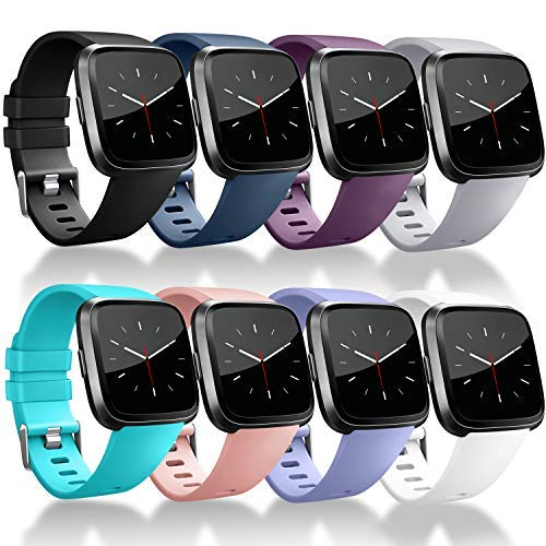 Tobfit Compatible Bands Replacement for Fitbit Versa, Silicone Wristbands Versa Accessories for Women and Men (Black/Blue/Purple/Grey/Lavender/Pink/Teal/White, Small)