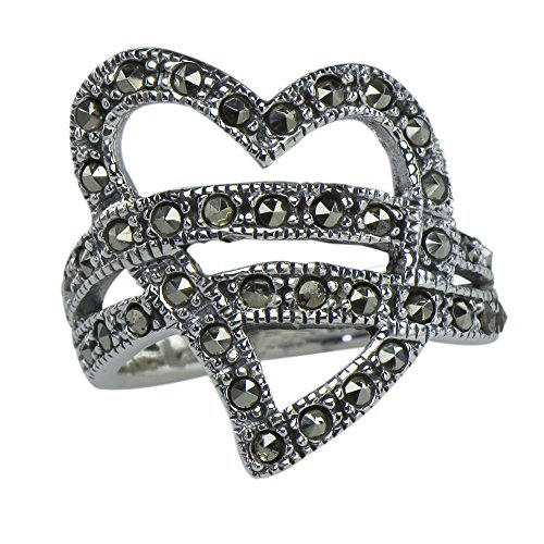 y Vintage Art Nouveau Marcasite Tornado Heart Deco Ring 925 Sterling Silver (Marcasite Heart Ring)