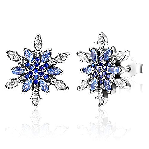 Twenty Plus Crystalized Snowflake Finger Rings With Blue Crystals Clear CZ For Valentines Day Birthday Gifts