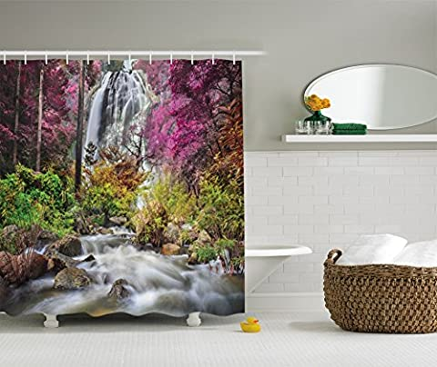 Ambesonne Waterfall Decor Collection, Colorful Forest Bush Feigned Stream Trees Grass Photography, Polyester Fabric Bathroom Shower Curtain Set with Hooks, Magenta Green (Magenta Green)