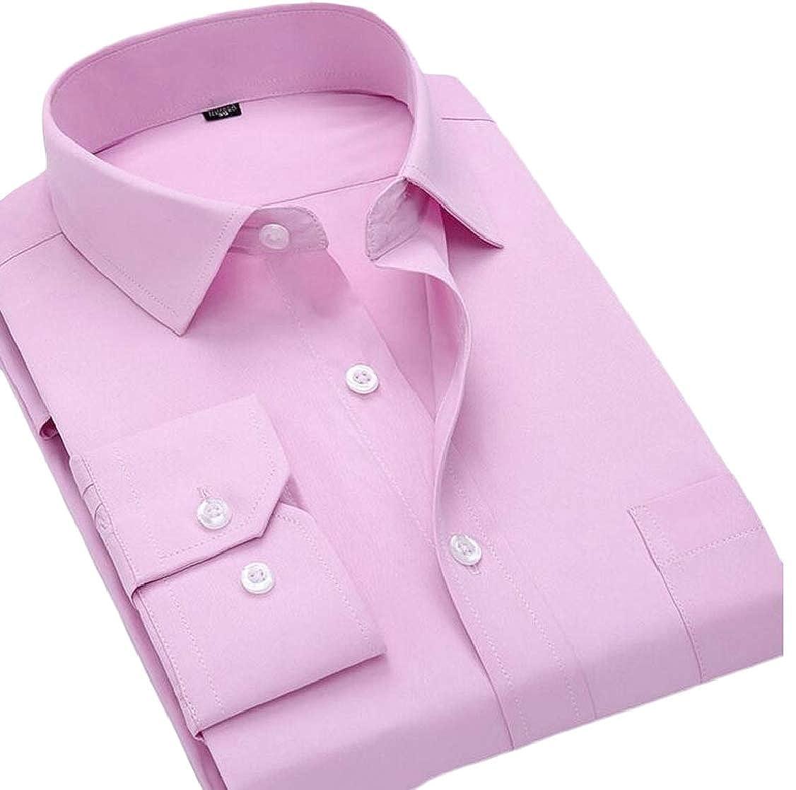 pipigo Men Lapel Long Sleeve Business Pure Color Button Front Shirts