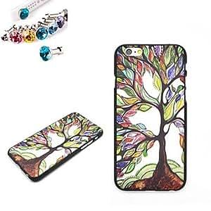 WQQ el patrón de árbol de pc caso de la contraportada con el enchufe a prueba de polvo para el iPhone 6 Plus