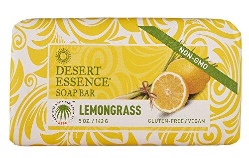Desert Essence Organic Lemongrass Bar Soap - 5 oz - 2 Pack - Aloe Vera, Jojoba Oil, Palm Oil, Moisturizes, Softens and Revitalizes Skin- Daily Face and Body Moisturizing Formula - Naturally Scented