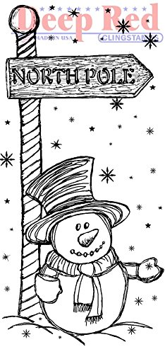Deep Red Rubber Stamp North Pole Snowman Points the Way Sign Pole - North Pole Rubber