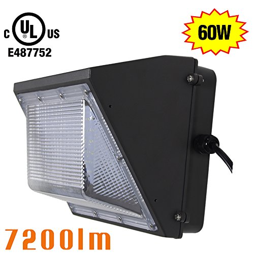 NGTlight 60W LED Wall Pack Fixture Light (300W HPS Replacement) 5000K Daylight White 7200Lm Waterproof Outdoor Canopy Wall Lamp UL listed (Daylight Square Pin)