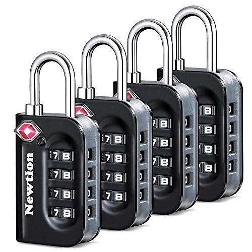 Newtion TSA Lock 4 Pack,TSA Approved Luggage lock,Travel Lock with Double Color Alloy Body,Combination Padlock for Luggage