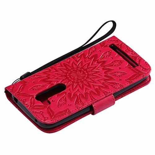 Yiizy Asus Zenfone Go ZB452KG Custodia Cover, Sole Petali Design Sottile Flip Portafoglio PU Pelle Cuoio Copertura Shell Case Slot Schede Cavalletto Stile Libro Bumper Protettivo Borsa (Rosso)