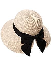 fd7b5578f725c Siggi Womens Floppy Summer Sun Beach Straw Hat UPF50 Foldable Wide Brim  55-60cm
