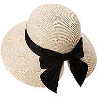 492ca92c3f6 SIGGI Womens Floppy Summer Sun Beach Straw Hat UPF50 Foldable Wide Brim  56-58cm