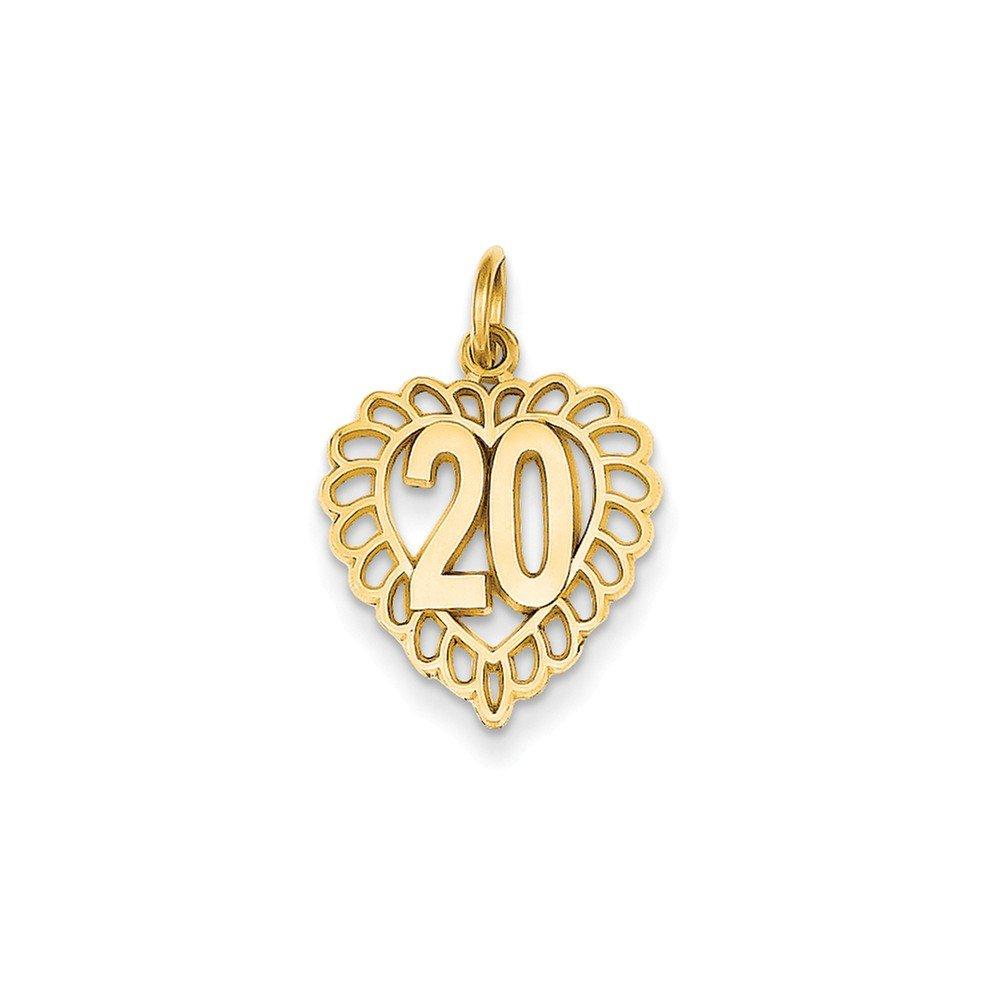 0.87 in x 0.59 in 14K Gold 20 in Heart Charm Pendant