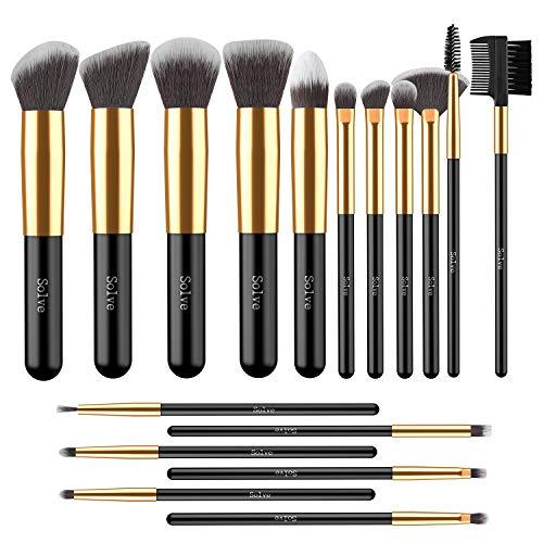 Makeup Brushes, SOLVE 17pcs Professional Kabuki Cosmetics Brush Set Foundation Powder Eye Brushes Kit Golden Black with Box