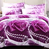 Polyester Quilt Four Sets Of Bedding Set Active Printing And Dyeing 3D Oil Painting Style Purple Roses Pattern,Quilt Cover * 1 ,Bed Sheets * 1,Pillowcase * 2(Full/Queen) , Colorful , 200*230Cm