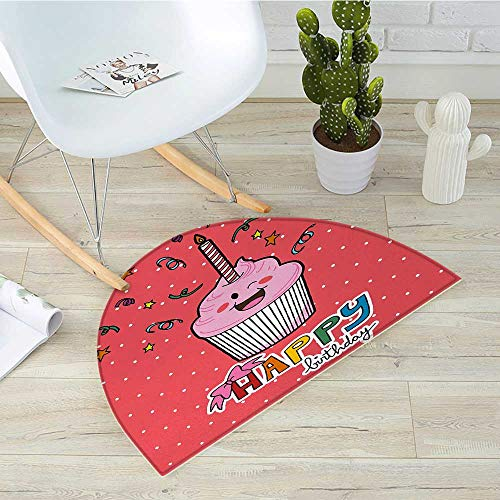 Birthday Half Round Door mats Pink Strawberry Flavor Cupcake with Candle Cute Face Confetti Bow Tie and Dots Bathroom Mat H 19.7