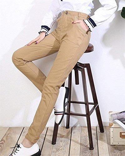 Automne Mode Casual Poches Pantalon Dame Kaki Jogging Battercake Loisirs Deux Uni Pants Printemps Femme Manche Chino De Taille Haute Elégante 4FBIwqB8