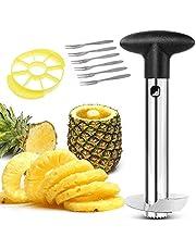 Pineapple Corer Cutter Slicer Peeler,Stainless Steel Pineapple Fruit Core Slicer Cutter Kitchen,Easy to Use and Clean, Dishwasher Safe, 6 Fruit Forks As Bonus