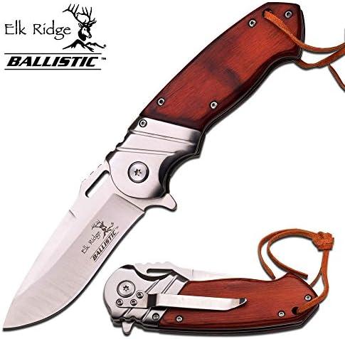 Elk Ridge 8 Wood Gentleman SPRING ASSISTED OPEN Hunting Folding POCKET KNIFE