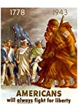 world war 2 propaganda posters - Americans Will Always Fight for Liberty WWII War Propaganda Art Print Poster 13 x 19in