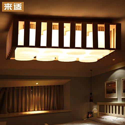 BLYC- Kreative japanischen Stil Lampen 9 einfache hölzerne chinesische Atmosphäre LED solide Holz Wohnzimmer Beleuchtung Esszimmer Schlafzimmer Lampe Deckenlampe 510 * 510 * 20 mm