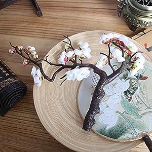Hot Sale!DEESEE(TM)Artificial Silk Fake Flowers Plum Blossom Floral Wedding Bouquet Party Decor (White) 104
