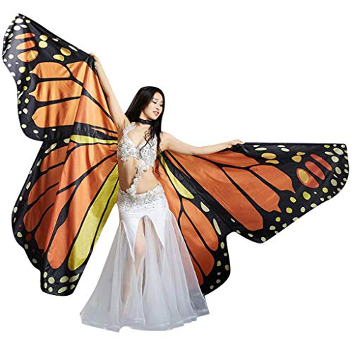LED Butterfly Wings Belly Dance Costumes Glowing Performance Clothing With Telescopic Stick for Carnival, Stage, Halloween Christmas Party,LED Angel Wings for for Adults and Child (Coffee(NO LED LIGHTS)) (Stage Wings)