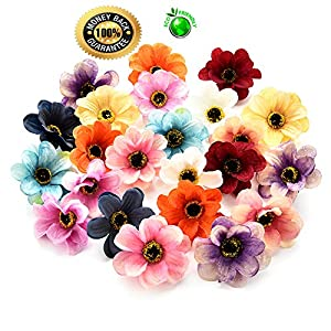 Silk flowers in bulk wholesale Fake Flowers Heads Mini Silk Sunflowers Artificial Flower Wedding Decoration DIY Wreath Clip Accessories Handmade Craft Flower Head 50pcs 5.5cm (Multicolor) 30