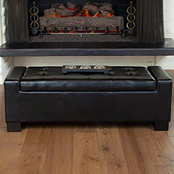 Rothwell Black Bonded Leather Storage Ottoman