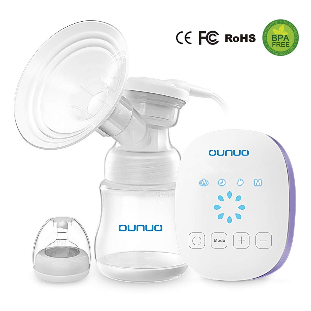 Breast Pump, OUNUO Portable Electric Breast Pumps Rechargeable Hospital-Grade Safety Single Electric Breast Pumps with 8 Suction Levels Sensitive Touch Panel