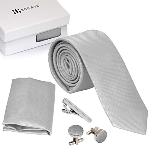 Bundle Monster Mens Skinny Tie Necktie 4pc Set Accessory for Weddings Silver