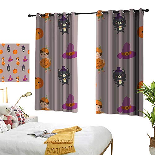 wwwhsl 90% Blackout Curtains for Bedroom Halloween Pattern with Pumpkin Kids and cat Room Decoration Ideas W96.4 xL72 -