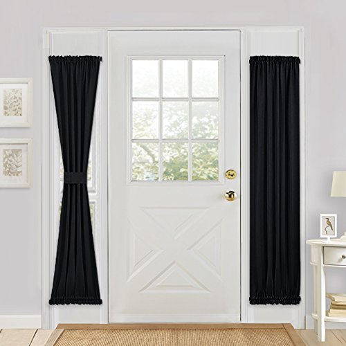 Blackout French Door Curtain Panel - PONY DANCE Solid Rod Pocket Window Treatment Door Panel for Side French Door Including Bonus Tieback,25 x 72 inches,Black,One (Blackout Party Ideas)