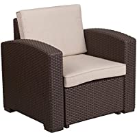 Flash Furniture Chocolate Brown Faux Rattan Chair with All-Weather Beige Cushion