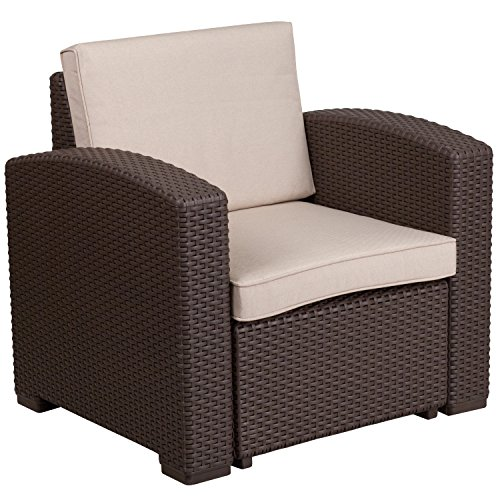 Flash Furniture Chocolate Brown Faux Rattan Chair with All-Weather Beige (Faux Rattan)