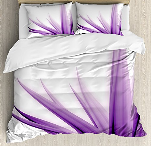 3 Piece Set Headboard (Flower Duvet Cover Set King Size by Ambesonne, Purple Ombre Style Long Leaves Water Colored Print with Calming Details Image, Decorative 3 Piece Bedding Set with 2 Pillow Shams, Purple and White)