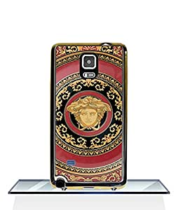 Versace Moulded Funda Case For Samsung Galaxy Note 4 2 in 1 Hybrid Dual Layer (Plastic Hard Shell and Flexible TPU) Protective Funda Case