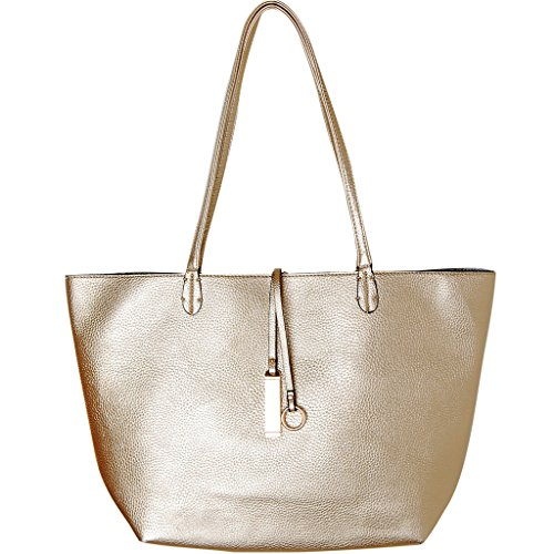 Humble Chic Reversible Vegan Leather Tote Bag - Oversized Top Handle Large Shoulder Handbag Purse, Gold & Silver, Metallic