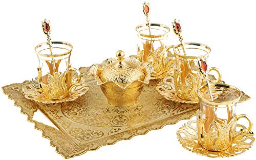 Turkish Tea Glasses Set with Decorated Metal Glass Holders, Saucers, Sugar Bowl with Lid & Serving Tray for 4 Ppl, 3.3 Oz (Gold)