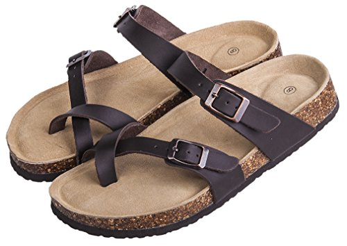 - MIXIN Women's Indoor Outdoor Comfy Arch Support Leather Buckle Strap Cork Slides Flats Flip Flops Sandals Brown 6