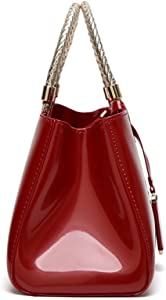 Glossy Faux Patent Leather Structured Shoulder Handbag Women Evening Party  Satchel. Glossy Faux Patent Leather Structured Shoulder Handbag Women  Evening ... d4e226c60f1f6